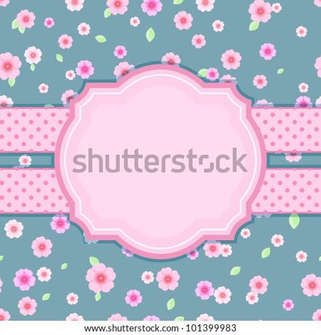 Floral Stylish Vintage Card on Blue Background. Vector Illustration - stock vector