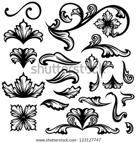 floral swirls - set of fine vector outlines - black design elements over white - stock vector
