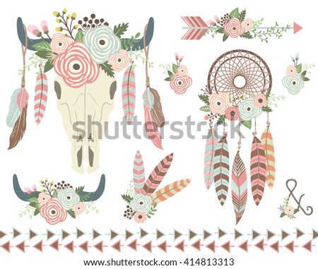 Floral Tribal Indian Elements - stock vector