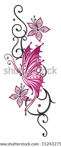 Floral tribal with butterfly in black and pink - stock vector