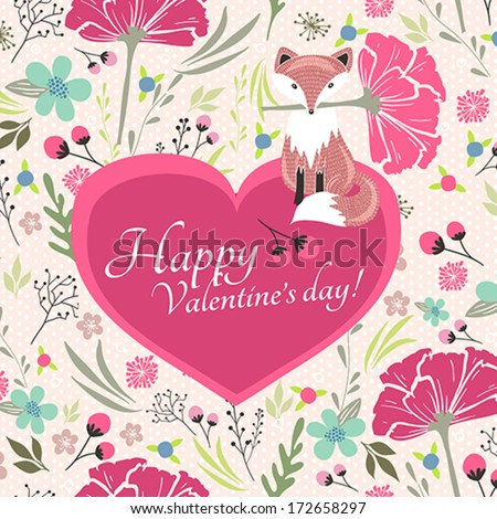 Floral valentines day card with cute little fox - stock vector