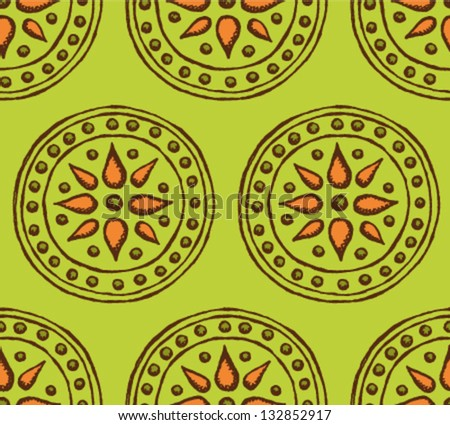 Floral vector background, seamless pattern with circles - stock vector