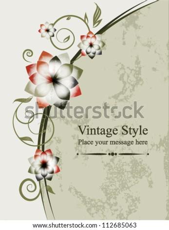 Floral vector background. Vintage frame, element for design. - stock vector