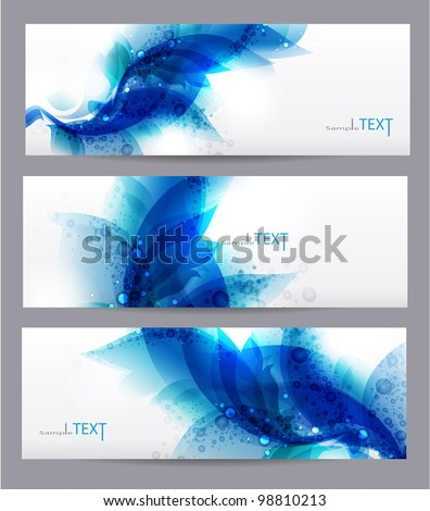Floral vector background with blue elements - stock vector