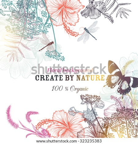 Floral vector background with engraved flowers hibiscus, dragonfly. Nature organic illustration - stock vector