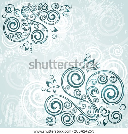 Floral vector blue background.  - stock vector