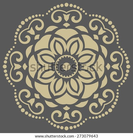 Floral vector oriental pattern with arabesque and floral golden elements. Abstract ornament for background - stock vector