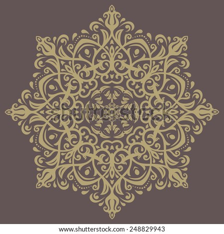 Floral vector oriental pattern with golden arabesque and floral elements. Abstract ornament for background - stock vector