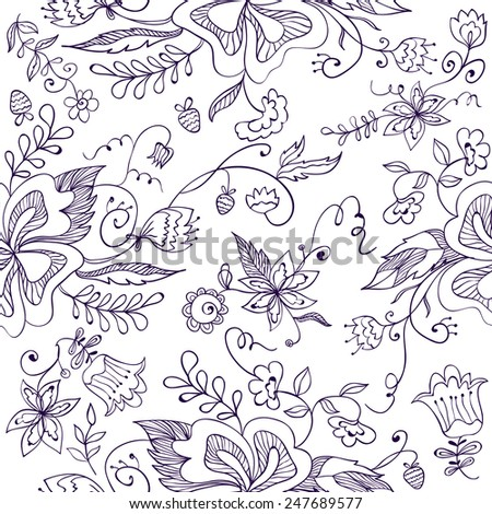 Floral vector seamless pattern - hand drawn style - stock vector