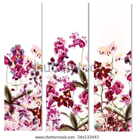 Floral vertical brochures set with orchid flowers painted in watercolor style by spots - stock vector