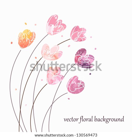 Floral vintage background. Watercolor flowers. - stock vector