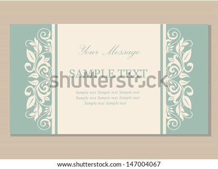 Floral vintage business card, invitation or announcement. - stock vector