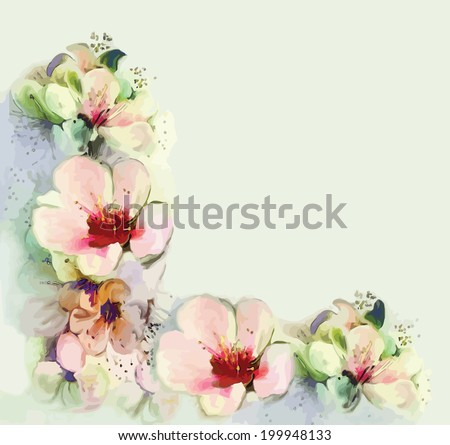 Floral vintage greeting card with spring flowers - stock vector