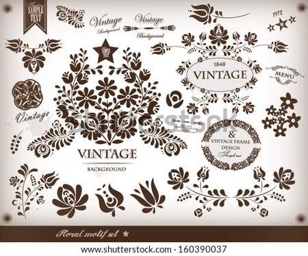 Floral vintage set - stock vector