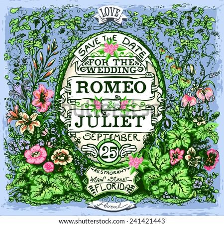 Floral Vintage Wedding Invite.  - stock vector