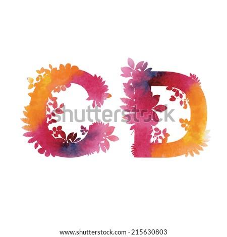 Floral Watercolor Alphabet. Letters C end D.  - stock vector
