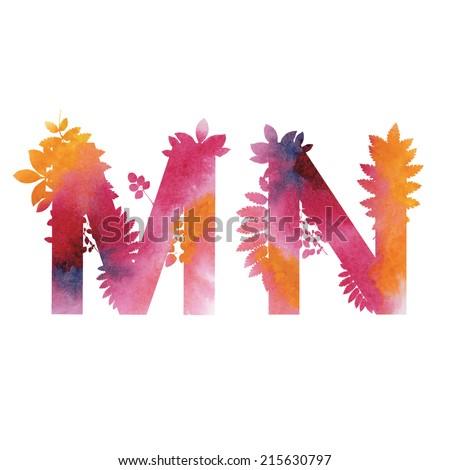 Floral Watercolor Alphabet. Letters M end N.  - stock vector