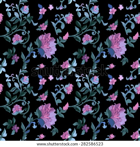 Floral Watercolor seamless pattern with exotic flowers and leaves - stock vector