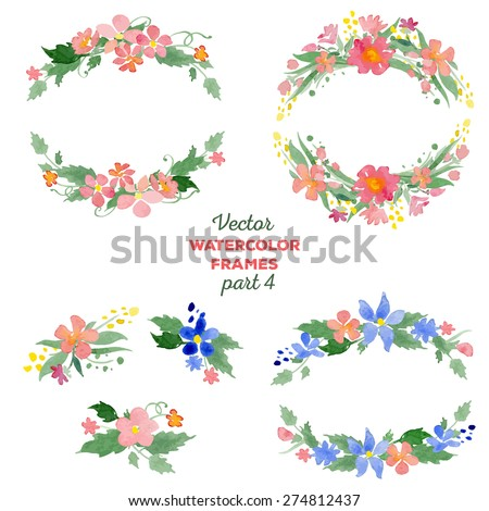 Floral watercolor wreaths, frames, bouquets. Great for wedding invitations, mothers day and birthday cards, page decoration. - stock vector