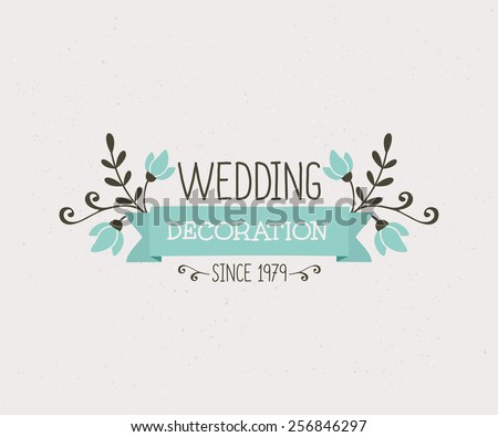 Floral wedding decoration design, cute and elegant vintage style logo template. - stock vector