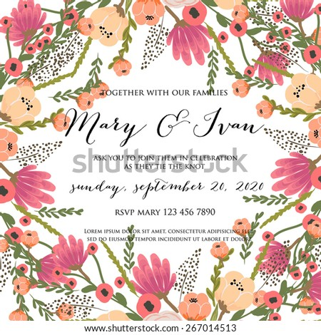 Floral wedding Invitation - stock vector