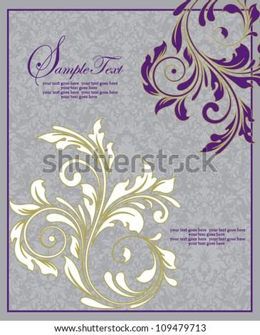 Floral Wedding Invitation Card - stock vector