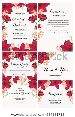 Floral Wedding Invitation Collection Template - stock vector