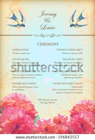 Floral wedding party card with flowers, birds. Free flying swallows, decorative ornament, realistic bouquets of roses, text. Romantic flyer in retro style - stock vector