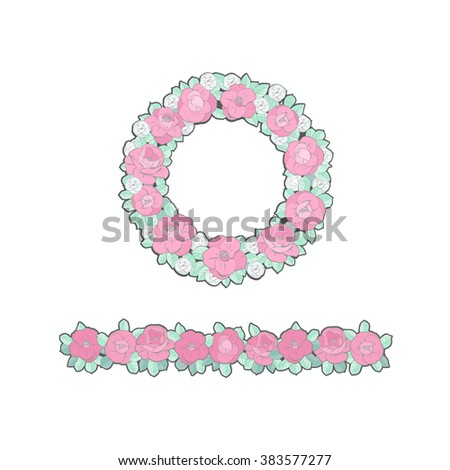 Floral Wreath and Border - stock vector