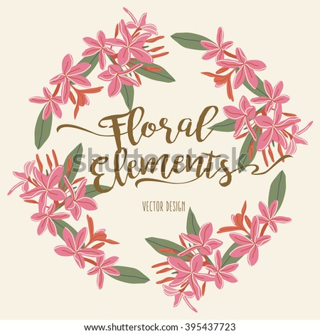 Floral Wreath Element - stock vector