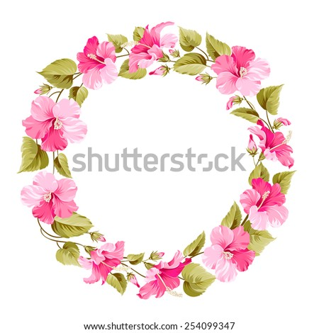 Floral wreath for Vintage Label. Vector illustration. - stock vector