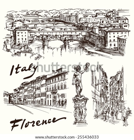 Florence, Italy - hand drawn set - stock vector