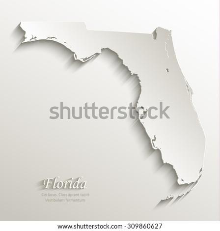 Florida map card paper 3D natural vector - stock vector