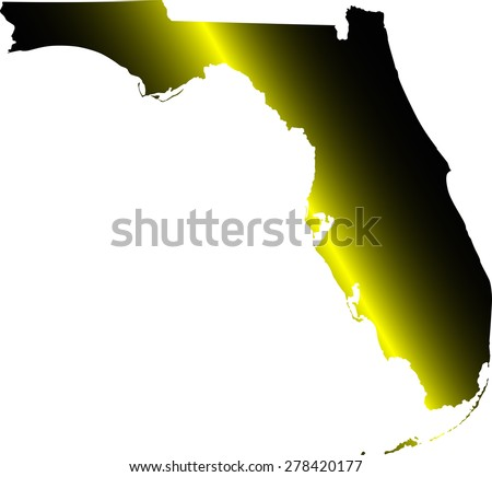 Florida map outlines in illuminated black and white background, vector map of State of Florida in USA - stock vector