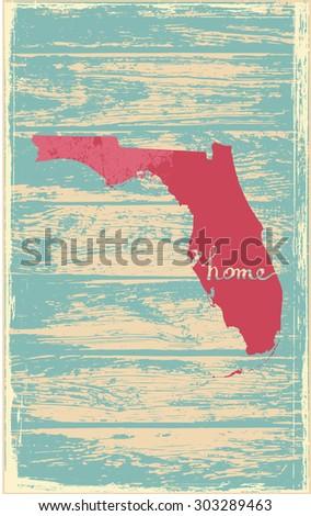 Florida nostalgic rustic vintage state vector sign - stock vector