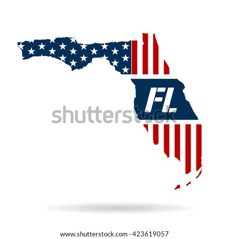 Florida patriotic map. Vector graphic design illustration - stock vector