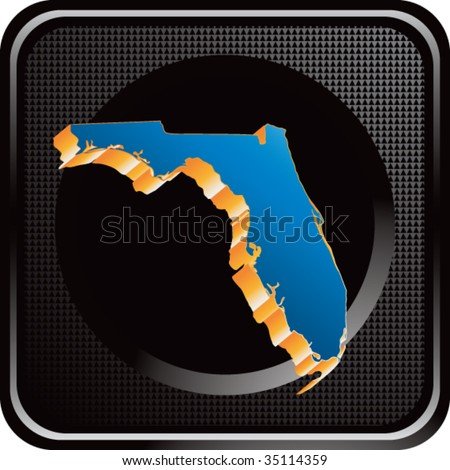 florida state shape on black web button - stock vector