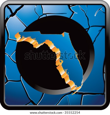 florida state shape on blue cracked web icon - stock vector