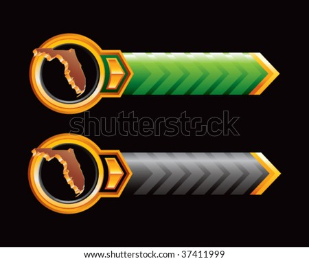 florida state shape on green and black arrows - stock vector