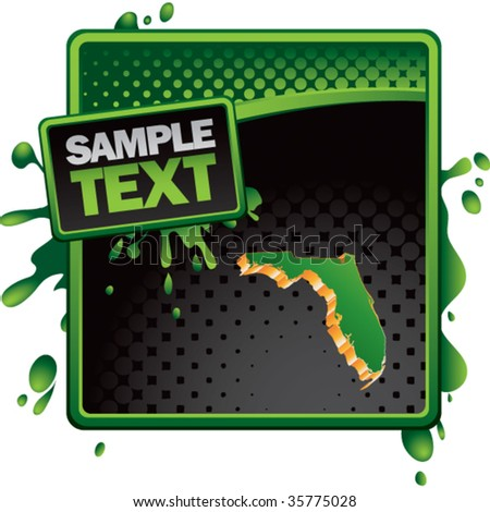 florida state shape on green and black halftone banner - stock vector