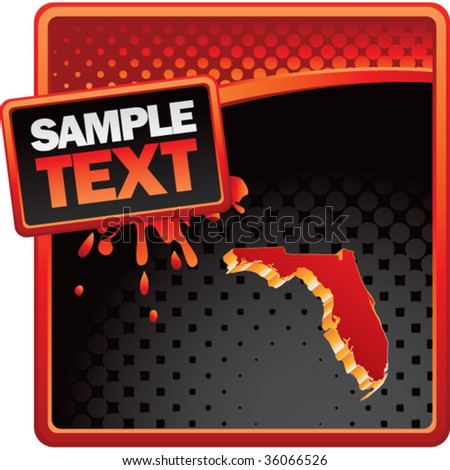 florida state shape on red and black halftone template - stock vector