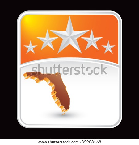 florida state shape on star background - stock vector