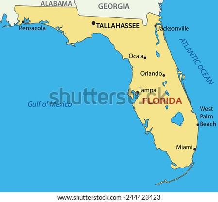 Florida - vector map - stock vector