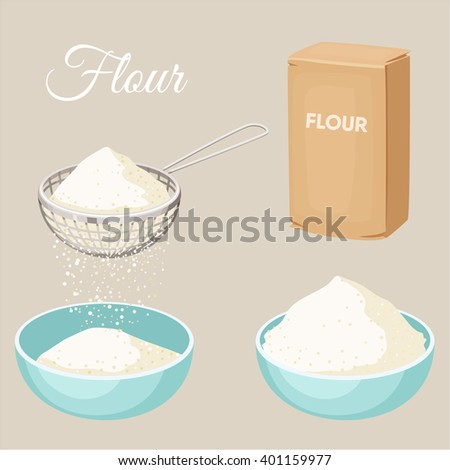 Flour set. Flour sifter, package of flour, bowl. Baking and cooking Ingredients. Healthy organic food. Flour cartoon vector. Dough cooking. Organic product. Flour set illustration. Kitchen utensils. - stock vector