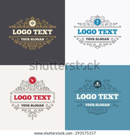 Flourishes calligraphic emblems. Tennis rackets with ball. Basketball basket. Volleyball net with ball. Golf fireball sign. Sport icons. Luxury ornament lines. Vector - stock vector