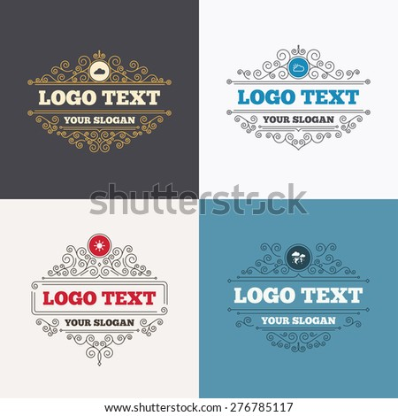 Flourishes calligraphic emblems. Weather icons. Cloud and sun signs. Storm or thunderstorm with lightning symbol. Gale hurricane. Luxury ornament lines. Vector - stock vector