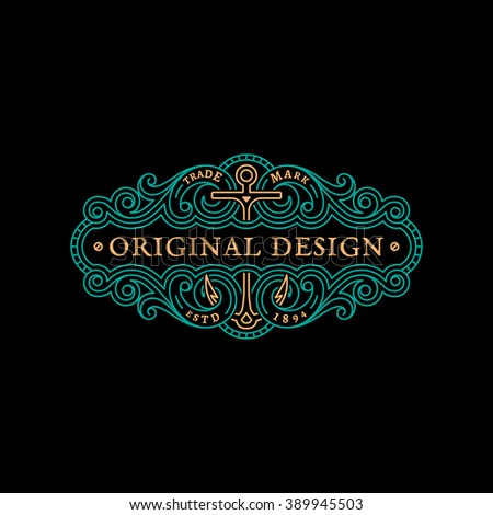 Flourishes luxury elegant ornament label template with anchor in trendy linear style. Vector illustration. - stock vector