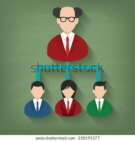 Flow chart,Businessman on blackboard background,vector - stock vector