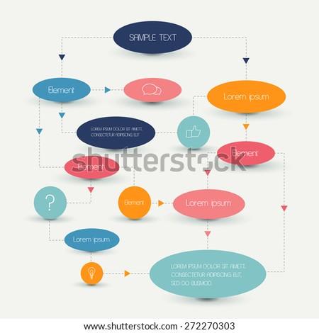 Flow chart scheme. Infographics elements. Vector design. - stock vector