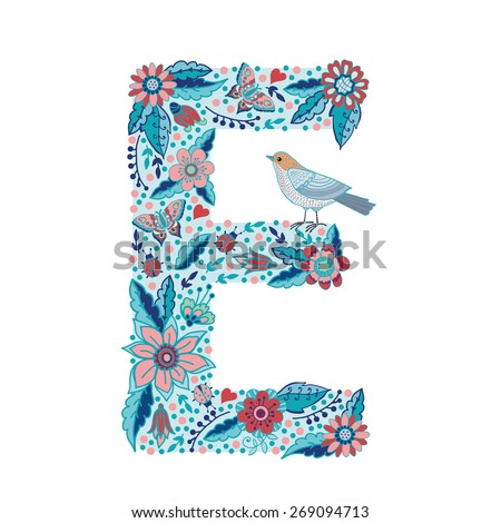S Alphabet In Flowers Flower alphabet letter E. Bright floral element of colorful alphabet ...